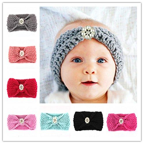CHSEEA 7 Stück Baby Stirnbänder Elastische Haarband Turban Kleinkind Stirnband Haar Bogen Fliege Schleife Haarreifen Mädchen Head Wrap zur Kostüm Fotografie Props #4