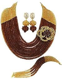 dcb06b5dfc0a laanc mujeres 10 filas marrón y oro champán cristal perlas de Nigeria  África Boda Joyería Conjuntos