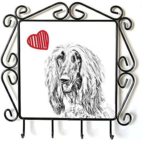 Levriero afgano, Appendiabiti con l'immagine di un cane e di cuore - Cuore Afgano