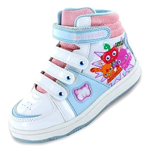 Image of Moshi Monsters Hi Top Girls Trainers - White/Blue/Pink (8,9,10,11,12,13,1,2) (UK 10 Infant)