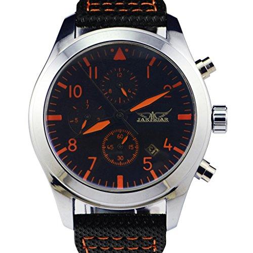 Gute élégant de mode hommes montre mécanique automatique avec revêtement en verre orange-hands cadran noir