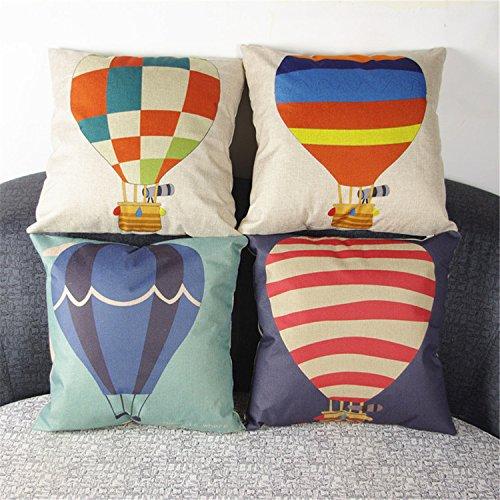 luxbon-set di 4pezzi colorati striscia/Check mongolfiera cuscino Cover resistente cotone lino throw pillow cover casa Decor 45,7x 45,7cm 45x 45cm