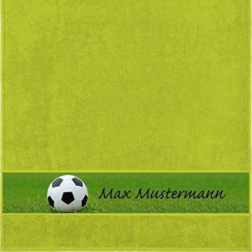 Manutextur Duschtuch mit Namen - personalisiert - Motiv Sport - Fußball - viele Farben & Motive - Dusch-Handtuch - hellgrün - Größe 70x140 cm - persönliches Geschenk mit Wunsch-Motiv und Wunsch-Name