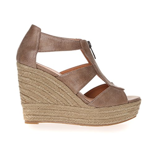 CHATTAWAK Debby, Sandales Bout Ouvert Femme Beige (Taupe)