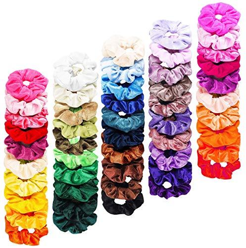 FAMINESS 50 Stück Samt Haargummis | 50 Farben Elastische GummibänderHaarbänder Scrunchies | Pferdeschwanz Haarband Haaschmuck für Mädchen Frauen