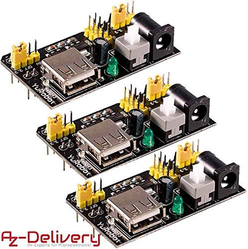 AZDelivery 3 x MB102 Breadboard Netzteil Adapter Power Supply Modul 3.3V/5V für Arduino
