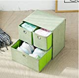 KLHNJ Storage Box Foldable Thick Drawer Cabinet Underwear Bra Scarf Socks Bra Storage Box(Green)