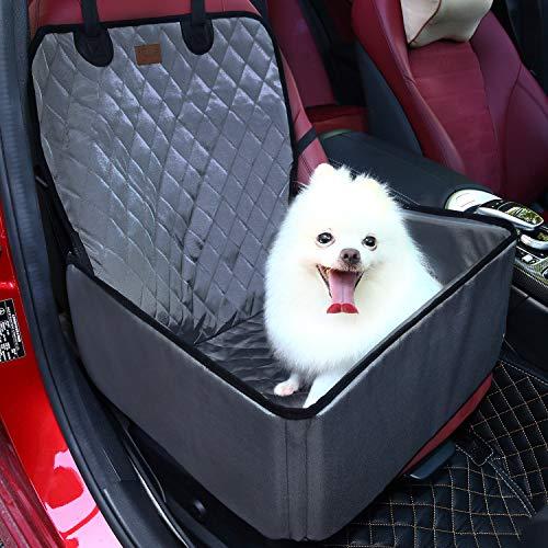 Pecomer Hund Autositzbezug 2 in1 Pet Bucket Cover Booster Sitz Rutschfest Wasserdicht Verstellbar Autositzabdeckung Sitzbezug Hundetransport Vordersitz für SUVs, Autos & Fahrzeuge (Grau) -