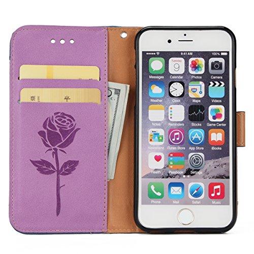 Hülle für iPhone 6 6S, Tasche für iPhone 6 6S, Case Cover für iPhone 6 6S, ISAKEN Blume Schmetterling Muster Folio PU Leder Flip Cover Brieftasche Geldbörse Wallet Case Ledertasche Handyhülle Tasche C Rose Kinder Lila