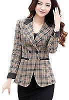 EOZY Womens Check V Neck Jacket Lapel Slim Fit Top Spring Lady Suit Blazer UK 12