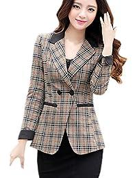 Eozy Women One Button Blazer Slim Office Suits Shorts Jackets Coats Plaid