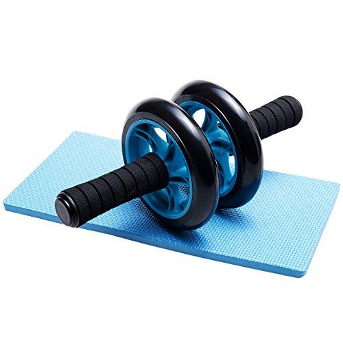 DXP Bauchtrainer Roller AB Wheel mit Knie Pad Bauchroller Fitnessworkout für die Bauchmuskeln Neu DJFL01 Blau