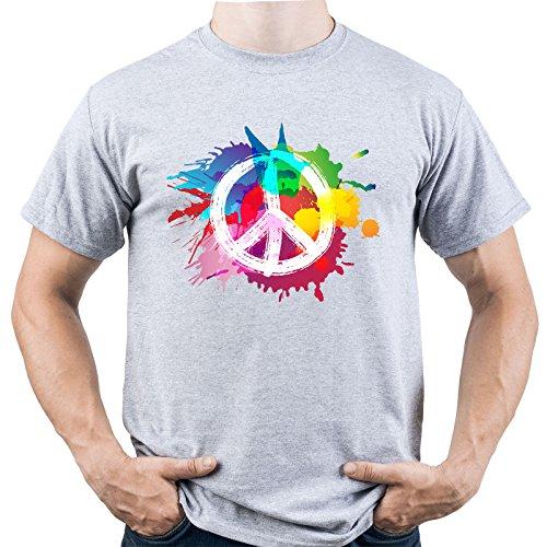 EUGINE DREAM Peace Sign Hippie Woodstock Camiseta para Hombre Gris XXL