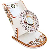 Handicrafts Paradise Rajasthani Marble Mobile Holder With Clock
