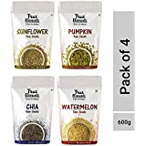 True Elements Healthy Raw Seeds Combo Chia, Sunflower, Pumpkin and Watermelon, 150g, (Pack of 4)