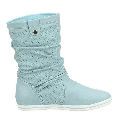 MQ1286 chaussures bottes femme Bleu - Bleu