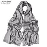 Wocharm Ladies Long Scarves Wedding Evening Prom Bridesmaids Dress Satin Shawl Sash Stole Wrap Pashminas (Silver)