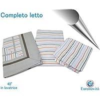 Completo biancheria da letto, Lenzuola in Cotone stampato per Letto matrimoniale, Fasciato Grigio 250x280 cm +2 federa 52x82 +2 federa cuscino