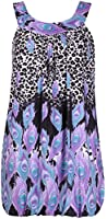 Womens Plus Size Paisley Peacock Print Ladies Sleeveless Puff Lined Round Neckline Long Vest Top