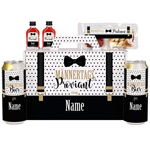Lustapotheke® Männertagsgeschenk Männertagsproviant im Koffer mit Krombacher Pils, Snackwurst und Schnäpschen personalisiert mit Namen