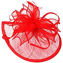 Pandahall,Mujeres joyeria para la fiesta del carnaval,accesorio del pelo,tocado de pluma y banda con flor de organza,rojo,120mm