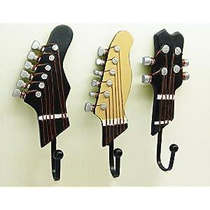 KUNGYO Attaccapanni Muro Set di 3 creative ganci appendiabiti Vintage gancio muro portachiavi chitarra strumenti roccia