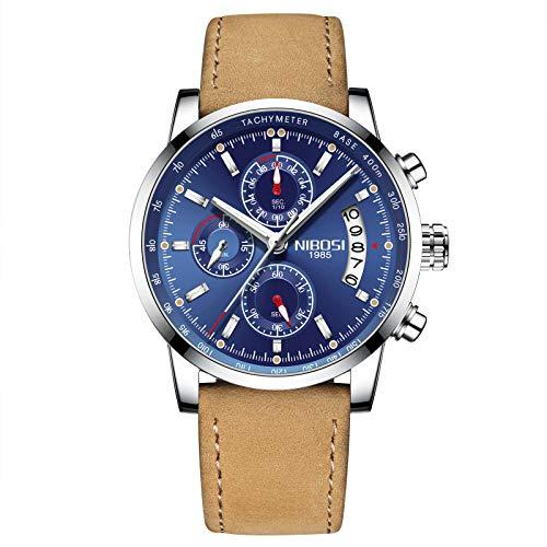 NIBOSI Herren Uhr Chronograph Quartz mit Leder Armband 2327 - 5 Taste Jungen Anzug