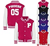 Personalised Name and Number Initials Kids Varsity Jacket American Style Collage Jacket Kids Personalised Jackets Boys Hoodie Girls Jackets Boys Jackets
