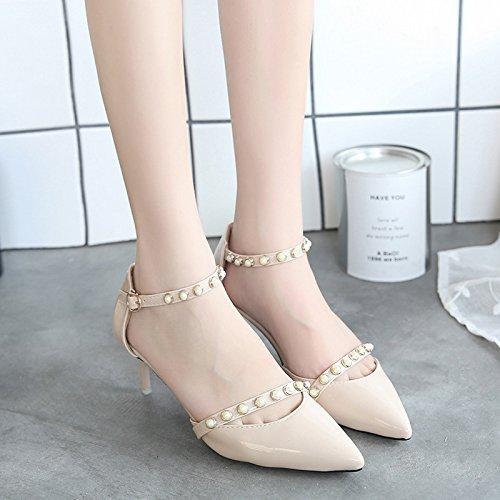 RUGAI-UE Estate scarpe High-Heeled rivetti Toe sandali donne sexy scarpe Beige