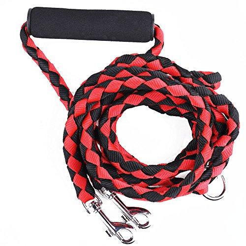 Hundeleine Doppelleine, Earthbay Double Leinen 1,44m Länge Nylon Zopf Premium Qualität für 2 Hunde (Rot + schwarz)