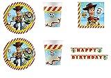 Party Store web by casa dolce casa Toy Story 4 Coordinato ADDOBBI TAVOLA Festa Woody E Buzz Lightyear - Kit n°13 CDC-(24 Piatti,24 Bicchieri,40 TOVAGLIOLI,1 Ghirlanda)