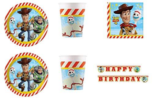 Party Store Web by casa süße Toy Story 4 Coordinate ADDOBBI Tisch Festa Woody und Buzz Lightyear - Kit Nr. 12 CDC-(16 Teller, 16 Gläser, 20 Servietten), 20 Servietten (Story Toy Party-teller)
