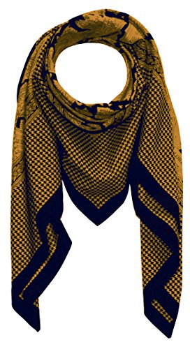 LORENZO CANA High End quadratisches XL Luxus Tuch Baumwolle kombiniert mit Seide 110 x 110 cm Naturfaser Marken Schaltuch Halstuch Hahnentritt Paisley (Aus Hahnentritt-schal Seide)