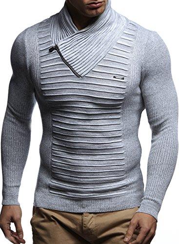 LEIF NELSON Herren Pullover Strickpullover Hoodie Basic Schalkragen Crew Neck Sweatshirt langarm Sweater Feinstrick LN1535 Ecru-Grau