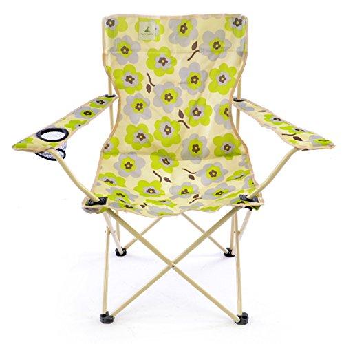 Faltstuhl Campingstuhl beige grün grau Blumenmuster Retrodesign 70er Jahre Getränkehalter Armlehne Angelstuhl 90x87x45cm, Stahlrohrrahmen, bis 110 kg, wasserabweisend, robust, mit Tragetasche Polyesterbezug 600D