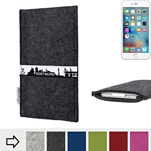 flat.design Filztasche SKYLINE mit Webband Dortmund für Apple iPhone 6s Plus - passgenaue Filz Schutzhülle aus 100% Wollfilz (anthrazit) - Case im Slim fit Design für Apple iPhone 6s Plus anthrazit