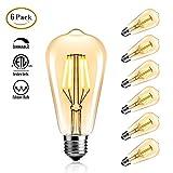 StillCool Vintage Edison LED Birne, LED Edison Glühbirne Dimmable 4W ST64 Squirrel Cage Filament Ideal für Nostalgie und Retro Beleuchtung Modell E27,2200K, Klarglas, Warm Weiß 6 Pack
