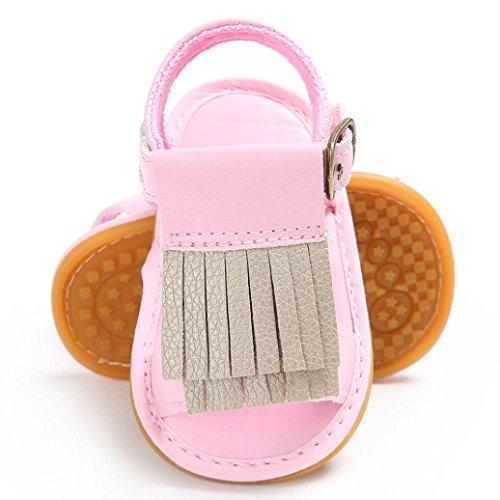 Culater® Baby neonato neonato in morbida pelle solare scarpe bambino ragazza prewalker 0-18M Rosa