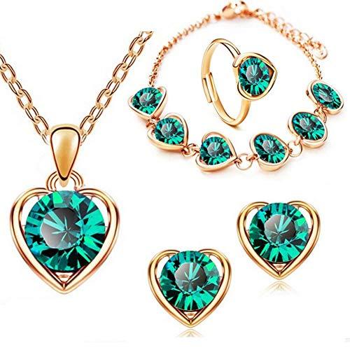 Wicemoon 1 Set Kristallherz-Ring von Vier Kristallring Frauenring Schmuck Ring aus grüner Legierung