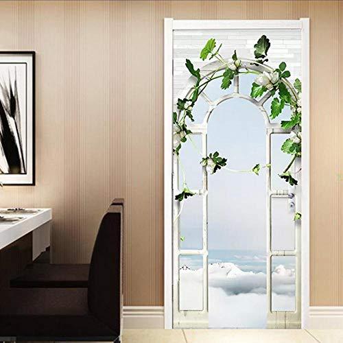 Wohnkultur Tür Aufkleber Europäischen Stil 3D Stereo Palace Arch Garten Tapete Wohnzimmer Hochzeit Haus Wandaufkleber DIY Wandbilder
