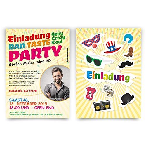 30 x Geburtstag Einladungskarten individuelle Einladungen - Bad Taste Party mit eigenem Foto