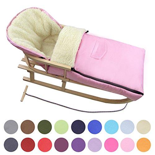 BAMBINIWELT Kombi-Angebot Holz-Schlitten mit Rückenlehne & Zugseil + universaler Winterfußsack (108cm), auch geeignet für Babyschale, Kinderwagen, Buggy, aus Wolle Uni (rosa) - Kombi-spielzeug Rosa