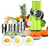 Baban Mandolina slicer Cortador de Verduras Frutas en Espiral Multifuncional,Cortador de verduras manual de patatas rallador de zanahoria rebanador de queso verde