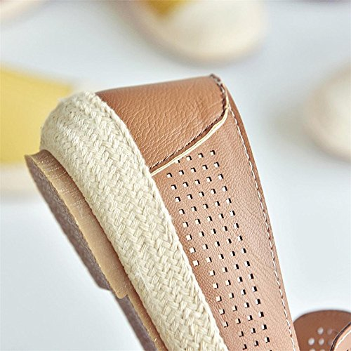 Longra Donna Scarpe basse scarpe nere di primavera e autunno calzature da lavoro scarpe da lavoro Marrone