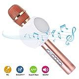 Hurrise bluetooth sans fil karaoké microphone, portable jouer et chanter karaoke KTV haut-parleur enregistrement des Chansons pour Smartphone iPad PC (Rose Or)