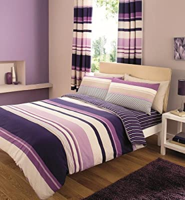 Contemporary Stripes Quilt Duvet Cover & Pillowcase Bed Set PURPLE - DOUBLE SIZE - inexpensive UK light store.