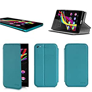Etui luxe Wiko Highway Star 4G turquoise Ultra Slim Cuir Style avec stand - Housse Folio Flip Cover coque de protection Wiko Highway Star Dual Sim bleue turquoise Android 3G/4G/LTE/Wifi - Accessoires pochette XEPTIO : Exceptional case !