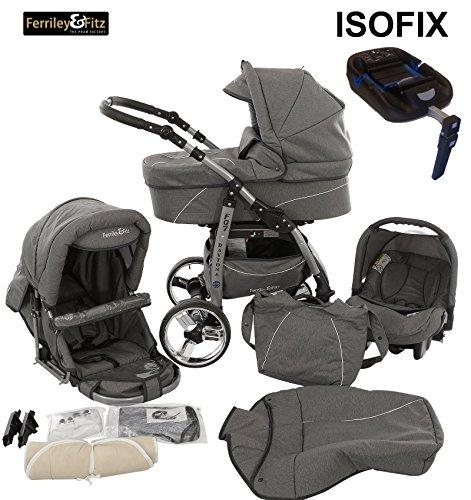 Ferriley & Fitz Daytona Kinderwagen Safety-Set (Autositz & ISOFIX Basis, Regenschutz, Moskitonetz, Getränkehalter, Schwenkräder) 53 Jeans Grau