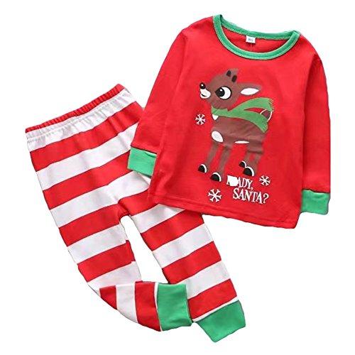 Jungen Mädchen Weihnachten Pyjamas, Meedot 2 Stück Set Baumwolle Langarm Nachtwäsche Kinder Schlafanzug für 1-6 Jahre alt Red 3T (3t-3 Stück Jungen)