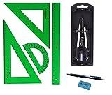 Kit Faber Castell - Set di strumenti da disegno verdi, 65021, Squadra, squadretta, righello e goniometro + compasso con adattatore universale, 32722-8+ regalo